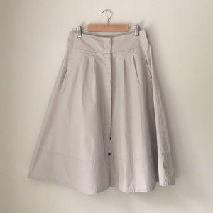 Zara Beige Full Button Front Skirt Size Small